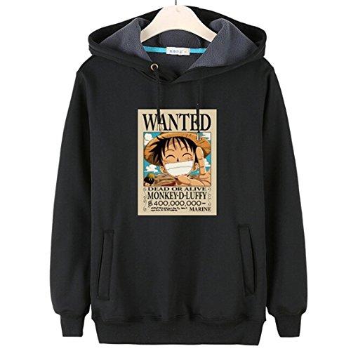 Happy Bag Anime One Piece Luffy Lovers Fleece Casual Hoodie Sweatshirt (XXL, Black)