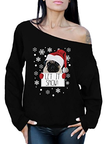 Happy Pug In Costume (Awkward Styles Let it Snow Sweatshirt Christmas Pug Off the Shoulder Top Ugly Christmas Sweater Black M)