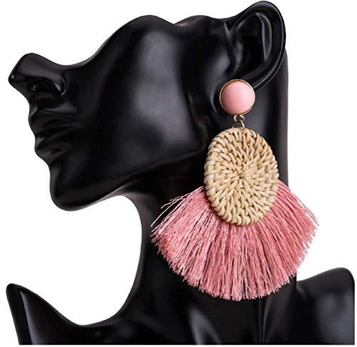 Fringe Round Earrings for Women Straw Weave Rattan Braid Tassel Earrings ()