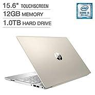 "2018 Newest HP Pavilion Business Flagship Laptop PC 15.6"" HD Touchscreen Display 8th Gen Intel i5-8250U Quad-Core Processor 12GB DDR4 RAM 1TB HDD Backlit-Keyboard Bluetooth B&O Audio Windows 10-Gold"