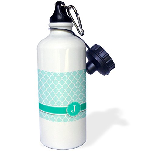 "3dRose wb_154550_1 ""Personalized letter J aqua blue quatrefoil pattern Teal turquoise mint monogrammed personal initial"" Sports Water Bottle, 21 oz, White"