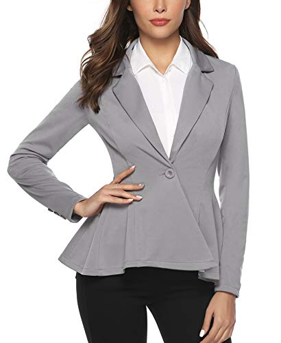 Aibrou Womens Casual Work Office Open Front Blazer Jacket Notch Lapel Sharp Gray