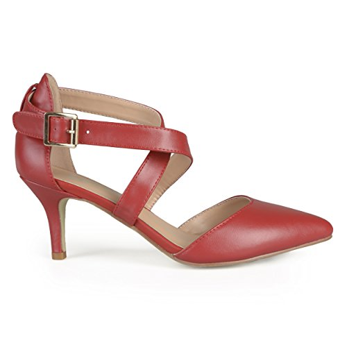 Brinley Co. Womens Matte Pointed Toe Ankle Strap D'Orsay Pumps Red 7.5