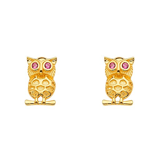 Gold Owl Yellow 14k (Wellingsale 14k Yellow Gold Owl CZ Cubic Zirconia Earrings with Push Back (10 x 7 mm))