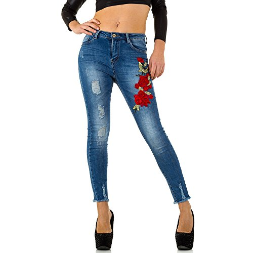 Bestickte Used Look Skinny Jeans Für Damen bei Ital-Design Blau