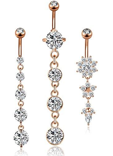 (YOVORO 3PCS 14G 316L Stainless Steel Belly Button Rings for Women Navel Rings Barbell Dangle Flower CZ Body Piercing RSG)
