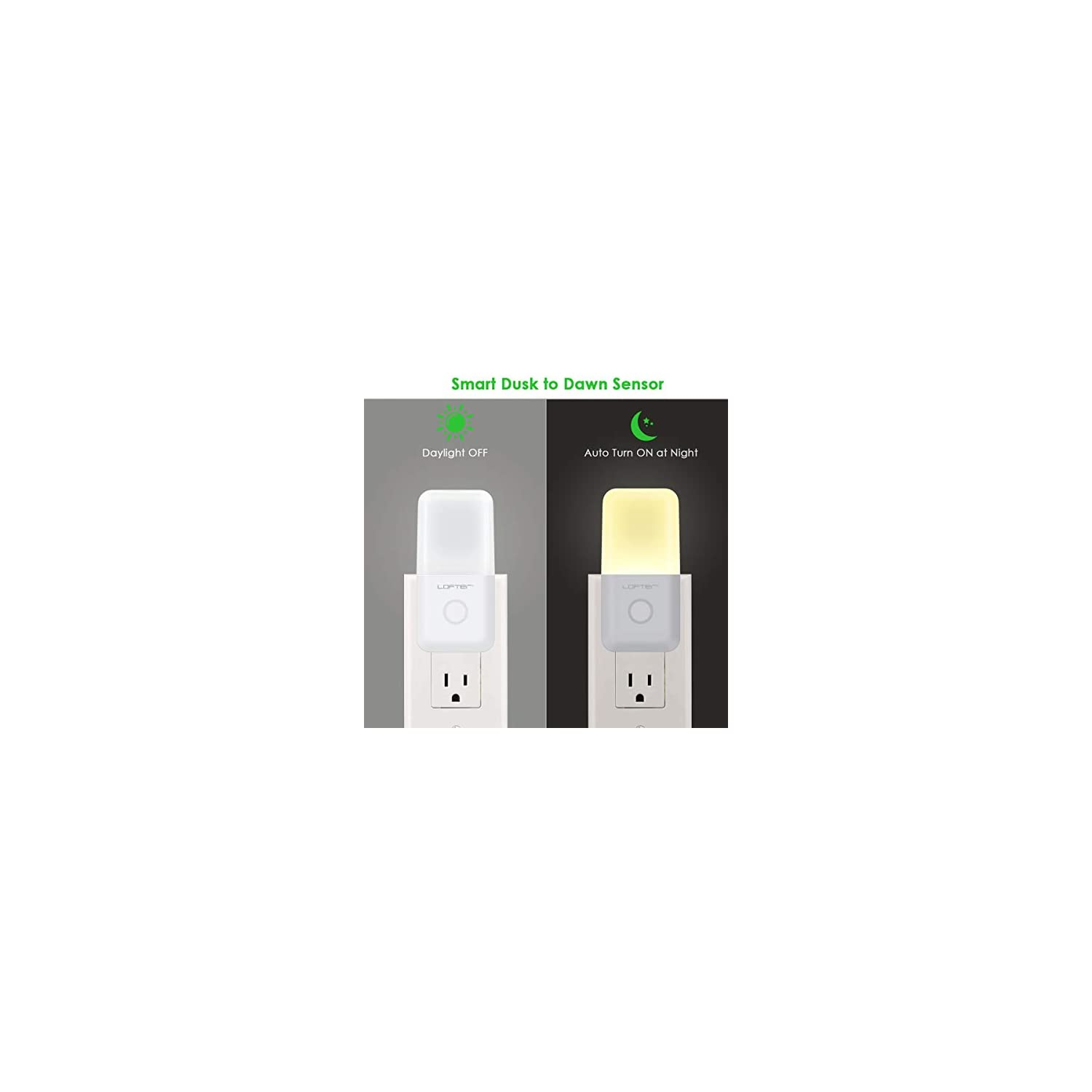 Dimmable Plug in Night Light, Slim Adjustable Brightness LED Night Lamp with Auto Dusk to Dawn Sensor, Warm White Baby Night Lights for Kids Room, Bedroom, Bathroom, Hallway, Kitchen, Stairs (4 Pack)