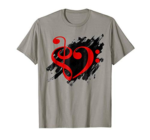 Treble Clef + Bass Clef Musical Heart Grunge Music Lover Red Notes Bassist T-Shirt