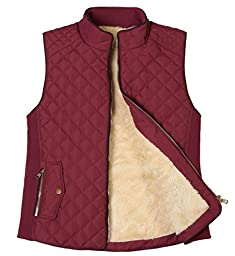 FANHANG WOMEN\'S LIGHTWEIGHT QUILTED PADDING ZIP UP GILET VEST JACKET WITH TWO SIDE POCKET AND SHERPA LINING AND NICE SIDE RIB (SMALL, BURGUNDY)