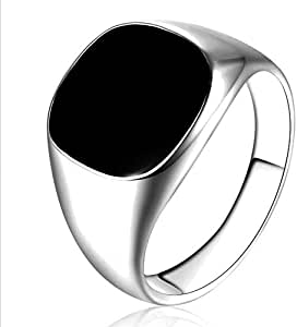 Men's Silver Ring with Black Onyx Stone Size US 10