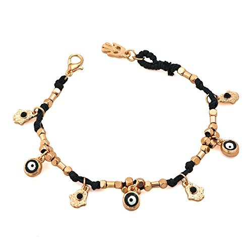 CharmsStory Evil Eye and Hamsa Hand Good Luck Bracelet Black String Handmade For Girls 7.5