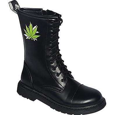 14 Trou Rangers Bottes bottes avec embout en acier Couleur Noire ou Bordeaux Chaussure à lacets - Noir, 38/4