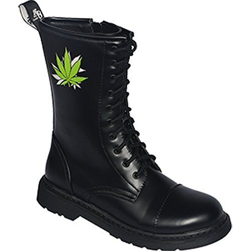 46 Creationz Stiefel Motiven UK mit 10 Cannabis Knightsbridge Loch verschiedene Dark 37 Gothic Reißverschluss Boots wOpEqC