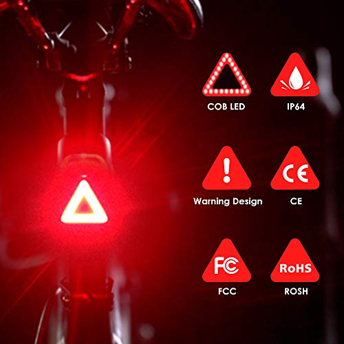 (N N.ORANIE Super Bright Bike Tail Light USB Rechargeable 10 Lumens Bicycle Bike Lightm, Red Rear LED Taillight Fits On All Bikes, Flashlight Easy to Instal)