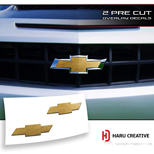 Haru Creative - Front Hood Grille Tailgate Bumper Trunk Bowtie Emblem Overlay Vinyl Decal Compatible Fits Chevy Chevrolet Camaro 2010-2013 - Metallic Brushed Aluminum Gold