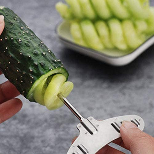 Matthew00Felix 2 Sizes Fruit and Vegetable Screw Roller Vegetal Spiral Slicer Comfort Handle