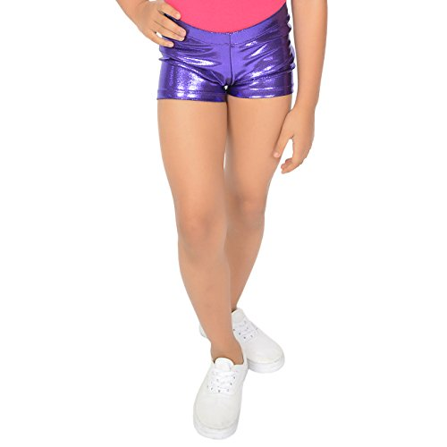 774d548ae676d Stretch is Comfort Girl's Dance Cheer Gymnastics Mystique Booty Shorts Purple  Small