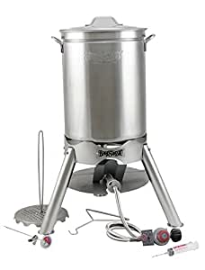 "Turkey Deep Fryer Oversized 44 Quart Stainless Steel ""GRAND GOBBLER"" Kit By Bayou Classic for Oversized 25 lb Turkeys"