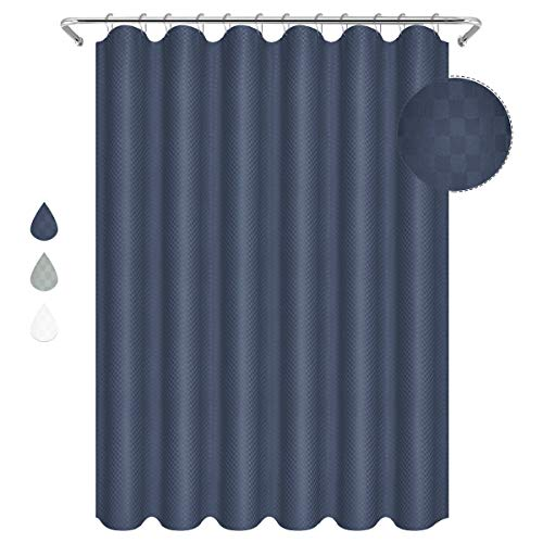 Eforgift Large Size Fabric Bathroom Curtain Water Proof Extra Thickened Easy Care Customized Checkered Plaid Design with Eyelets, Hotel Shower Curtain Navy Blue, 72 x 84 inches