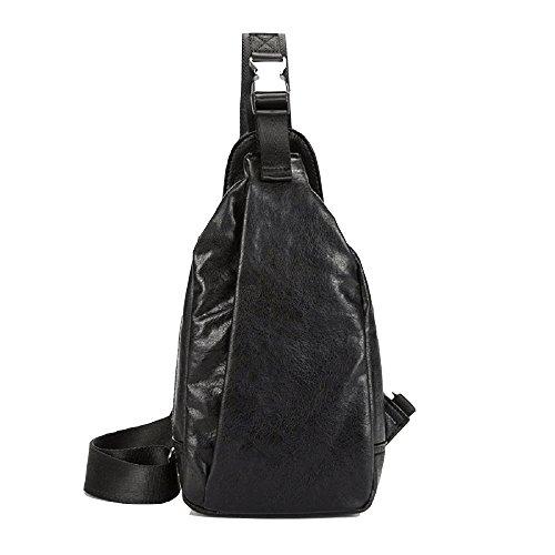 Hombro de Pecho Bolsos Negro Impermeable de Hombres Zhrui Hombro con Negro Bolso Vintage de para Cuero un vE47gq