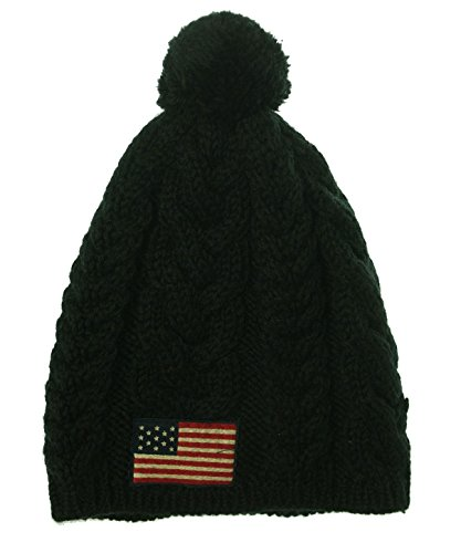 Polo Ralph Lauren Cable Knit USA Flag Wool Cap -