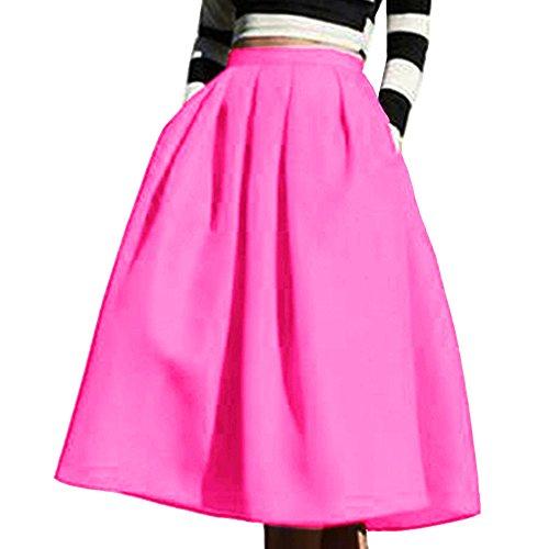 Yige Women's High Waisted A line Skirt Skater Pleated Full Midi Skirt Pink US16 -