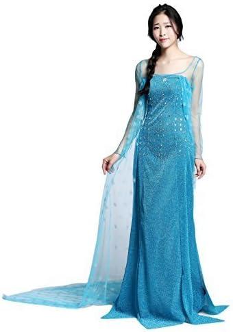 NNDOLL Disfraz Elsa Princess para adulto Vestido largo Frozen ...