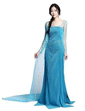 Disfraz Elsa Princess para adulto Vestido largo Frozen Dress para mujer Disfraz elegante para fiestas