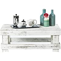 del Hutson Designs - Rustic Barnwood Coffee Table, USA Handmade Reclaimed Wood (White)