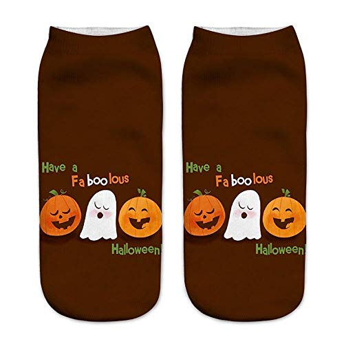 Feccile Halloween Socks,Soft Warm Breathable Short Flexible Comfortable Pimpkin Cat Witch Fun Printing Tube Sock -