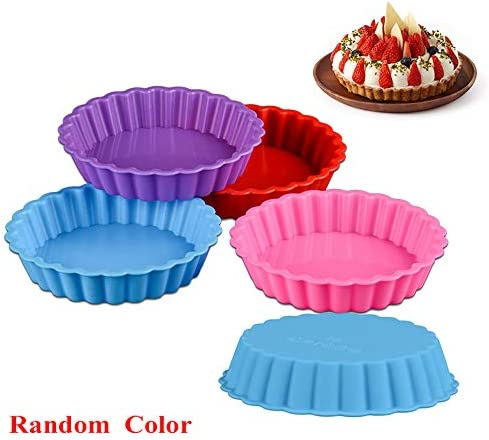 Bybycd Silicone Egg Tart Mold Mini Tart Pan Fruit Pie Mould Pie Baking Pan Muffin Baking Cup Round Wave Edge 1 Pc Random Color