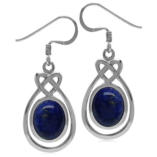 Silvershake 10X8mm Genuine Oval Shape Blue Lapis 925 Sterling Silver Celtic Heart Knot Dangle Hook Earrings ()
