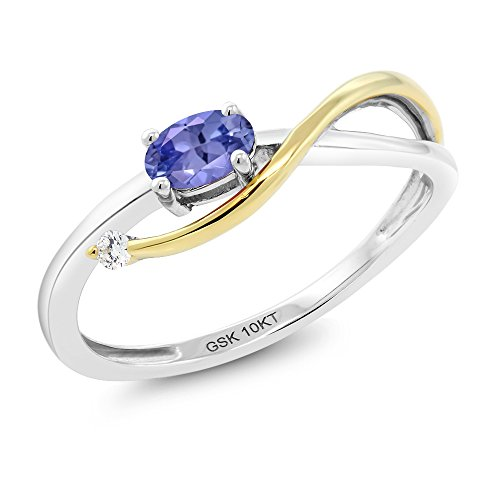10K Two-Tone Gold 0.25 Ct Blue Tanzanite and Diamond Engagement Ring (Ring Size (0.25 Ct Gems)