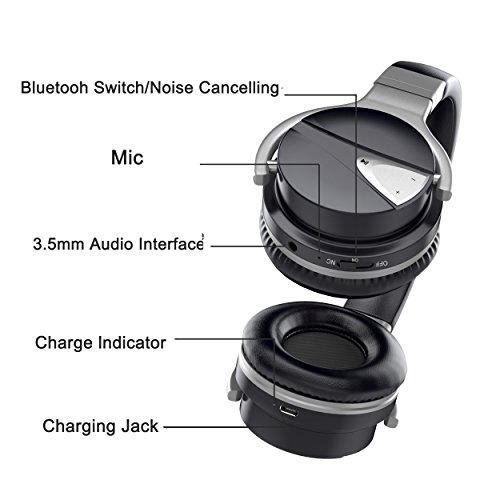 USTEK Wireless Headphones, Active Noise Cancelling Headphones Bluetooth Headphones with Mic Deep Bass Wireless Headphones,Over Ear Bluetooth Stereo Headphones with Microphone Adjustable Earphones ANC by USTEK (Image #1)