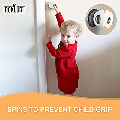 Roklur Premium Child Proof Door Knob Safety Covers - 6 Pack- Heavy Duty Protector - Easy to Install White Color Handles - with Bonus Baby/Toddler Proofing Corner Edge Guards