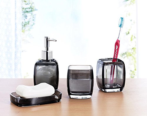 Bath Bliss Contemporary Acrylic 4 Piece Bathroom Accessory Set, Assorted Sizes and Colors (Short, Black)