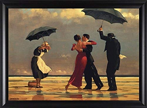 """The Singing Butler by Jack Vettriano Love 2"""" Quality Composite Framed Picture 33x23 Finished Size Beaches Love Romance Umbrellas"""