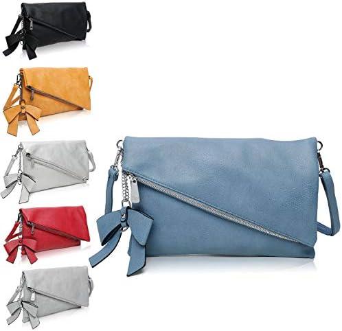Clutch 2-in-1 - Kleine Handtasche Blau Elegante Abendtasche - Damen Umhängetasche - Schultertasche Abnehmbarer Gurt - inkl. Schleife