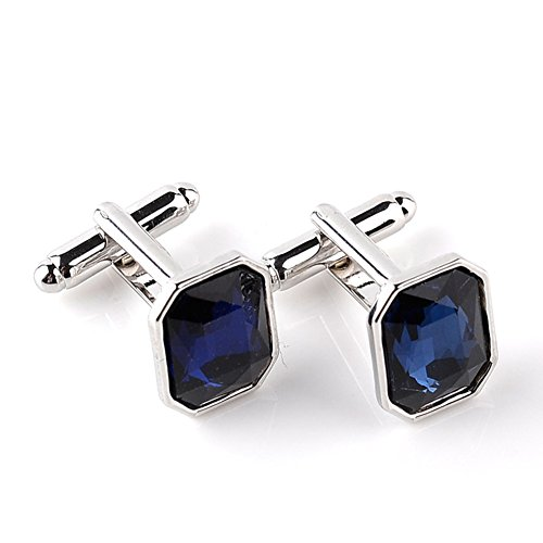 (1 Pair Mini Sleeve Accessories Fashion Men's Solid Color T-shirt Cufflinks - Sapphire Blue qsbai)