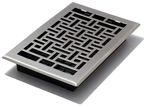 Decor Grates AJH610-NKL Oriental Floor Register, 6-Inch by 10-Inch, Nickel (Brushed Plated Nickel Steel Floor)