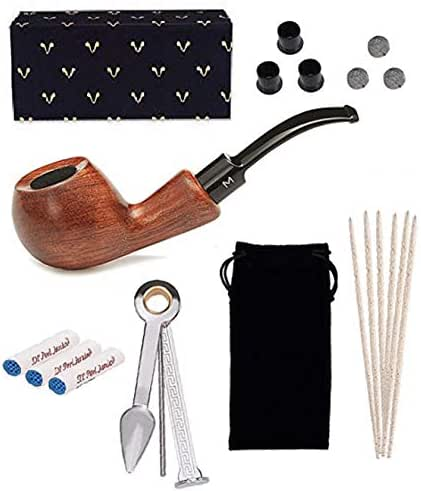 Tabacco Pipes for Smoking, Free Boy, 9mm Tobacco Pipe, Come with Pipe Filters, Pipe Cleaners, 3-in-1 Pipe Scraper, Pipe Metal Balls and Pipe Bits