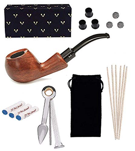 Tabacco Pipes for Smoking, Free Boy, 9mm Tobacco Pipe, Come with Pipe Filters, Pipe Cleaners, 3-in-1 Pipe Scraper, Pipe Metal Balls and Pipe Bits ()