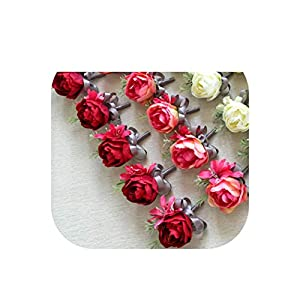 Rose Handmade Wedding Corsage Groom Boutonniere Bride Bridesmaid Women Peony Hand Wrist Flower Corsages Wedding Supplies 41