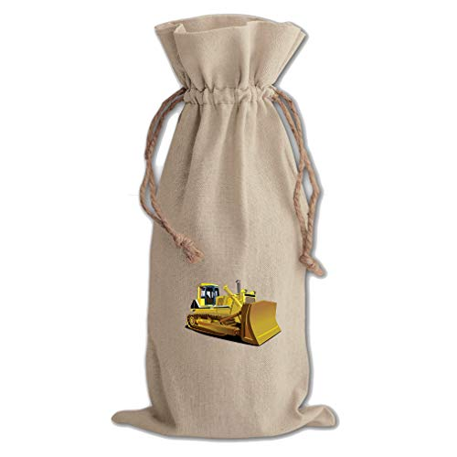 Yellow Dozer Car Auto Cotton Canvas Wine Bag, Cotton Drawstring Wine Pouch