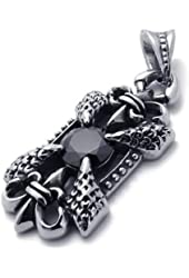 KONOV Vintage Mens Black Stainless Steel Pendant Necklace, Black Silver, 24 inch Chain