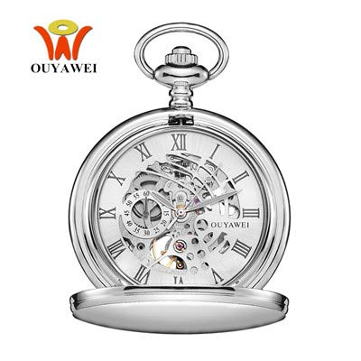 e7264f477 Image Unavailable. Image not available for. Color: Ouyawei Brand Mechanical  Hand Wind Watch Men Pocket Watch Stainless Steel Chain ...