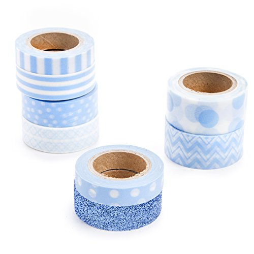Darice Tape (Darice Light Blue Washi Tape Assortment)