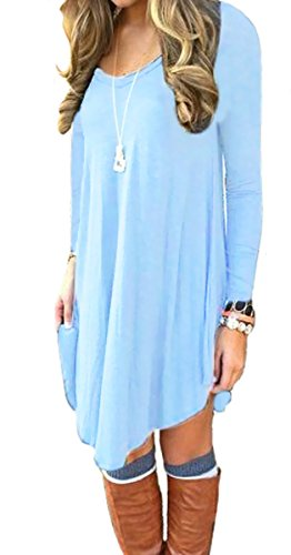 DEARCASE Women's Loose V-Neck Long Sleeve Stretch Solid A-Line Tunic Dresses Light Blue L