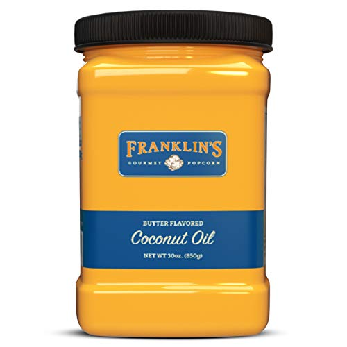 Franklin's Gourmet Popcorn Butter Flavored Coconut Oil - 30 oz. Tub - Top Rated, Delicious, Healthy, Zero Trans Fat - Gluten Free/Vegan & NO Junky Ingredients - Best Movie Theater Taste - Made in USA ()