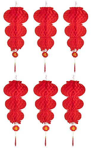 Chinese Red Lantern- 6-Pack Good Luck Lantern, Hanging Chinese Decoration for Lunar Chinese New Year, Wedding, Spring Festival, Restaurant, Celebration, Three Layers Design, 12 x 12 x 31.5 -